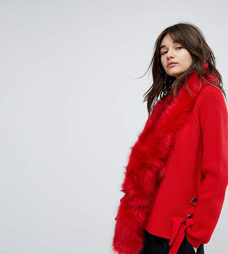E.L.K Bright Red Faux Fur Scarf