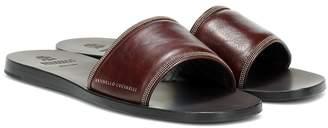 Brunello Cucinelli Embellished leather slides