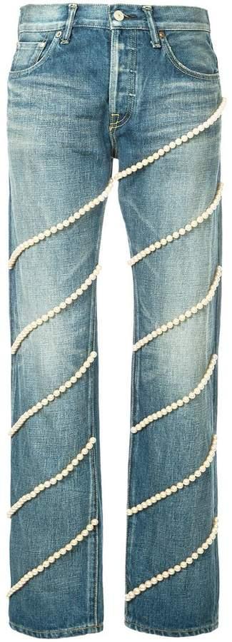 Tu Es Mon Trésor pearl jeans short length