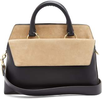 Diane von Furstenberg Front Flap Satchel large leather and suede bag