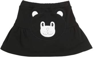 Bear Embroidered Cotton Skirt