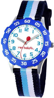 JCPenney RED BALLOON Red Balloon Kids Time Teacher Striped Nylon Strap Watch
