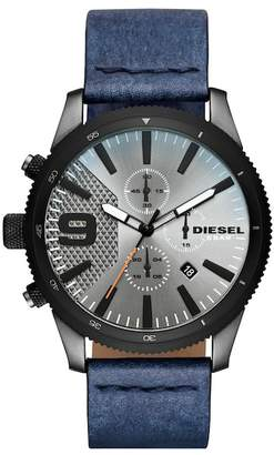 Diesel Men's Rasp Chrono 46 Gunmetal IP and Denim Leather Chronograph Watch, 46mm x 54mm