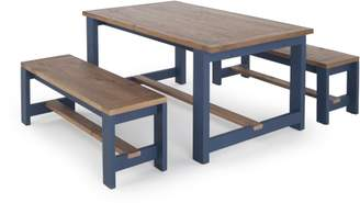 Bala Dining Table and Bench Set, Solid Wood and Blue