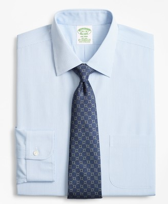 Brooks Brothers Stretch Milano Slim-Fit Dress Shirt, Non-Iron Narrow Pindot Stripe