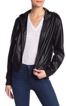 Skinny Girl Jeans Faux Leather Bomber Jacket Hoodie