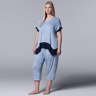 Vera Wang Plus Size Simply Vera Handkerchief Tee & Capri Pajama Set