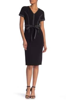 Maggy London Short Sleeve Topstitched Waist Tie Dress