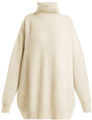 Raey Displaced Sleeve Roll Neck Wool Sweater - Womens - Ivory