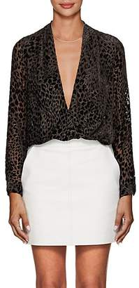 L'Agence Women's Lydia Leopard-Pattern Velvet Draped Blouse - Brown