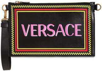 Versace Multicolor Logo Leather Clutch