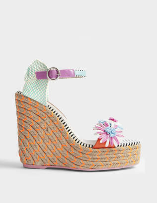 Sophia Webster Lucita Flower Espadrilles in Pink and Blue Jute and Canvas