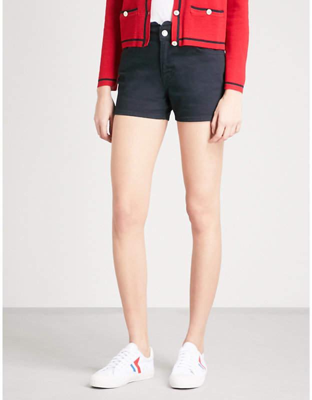 Ella scalloped-waistband denim shorts