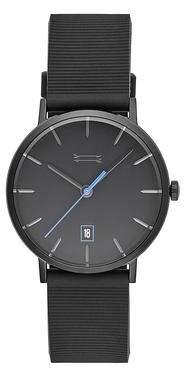 Uri Minkoff Norrebro Black Tone Rubberized Strap Watch, 40MM