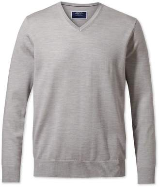 Charles Tyrwhitt Silver Merino Wool V-Neck Sweater Size XXL
