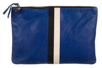 Clare Vivier Striped Leather Flat Clutch