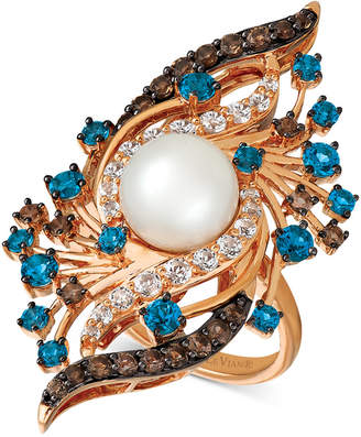 LeVian Le Vian Crazy Collection Vanilla Pearl (9mm) & Multi-Gemstone (2-5/8 ct. t.w.) Ring in 14k Rose Gold