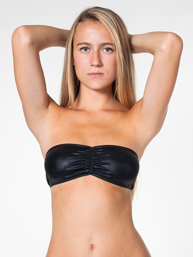 American Apparel Shiny Ruched Front Tube Bra