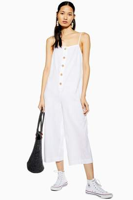 Topshop Womens White Button Front Jumpsuit - White