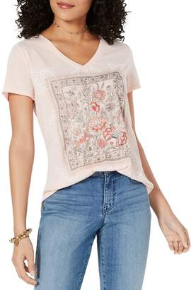 Style&Co. Style & Co. Embroidered Graphic V-Neck Tee