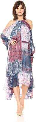 BCBGMAXAZRIA Azria Women's Saige Woven Cold Shoulder Paisley Dress with Tie Front, L