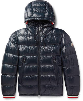 Moncler Alberic Grosgrain-Trimmed Quilted Shell Hooded Down Jacket - Navy
