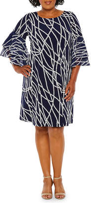 Studio 1 3/4 Sleeve Printed Fit & Flare Dress - Plus