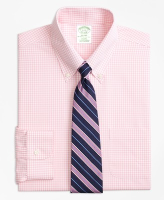 Brooks Brothers Stretch Milano Slim-Fit Dress Shirt, Non-Iron Gingham