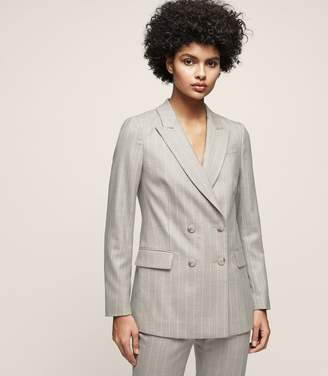 Reiss Pixie Jacket - Pinstripe Double-breasted Blazer in Grey