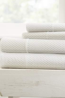 IENJOY HOME Home Spun Premium Ultra Soft 4-Piece Stippled Pattern Full Bed Sheet Set - Light Gray