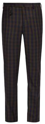 Incotex Slim Leg Checked Wool Trousers - Mens - Navy