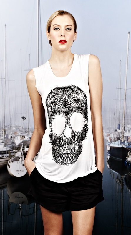 Lauren Moshi Tess Feather Skull Short Sleeve Tee with Inserts in White