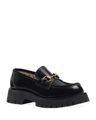 Gucci Django Leather Lug-Sole Loafers