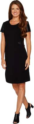 Halston H By H by Regular VIP Ponte Dress with Leather Details