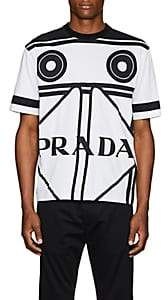 Prada Men's Cassette-Print Cotton T-Shirt - Ivorybone