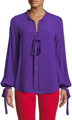 No.21 No. 21 Violet Tie-Neck Button-Front Blouse