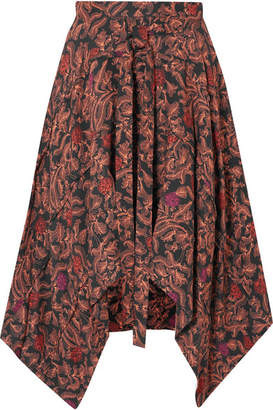 Proenza Schouler Asymmetric Floral-print Crepe De Chine Midi Skirt - Brick