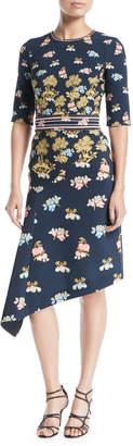 Peter Pilotto Elbow-Sleeve Crewneck Fig-Tree Print Dress w/ Asymmetric Hem