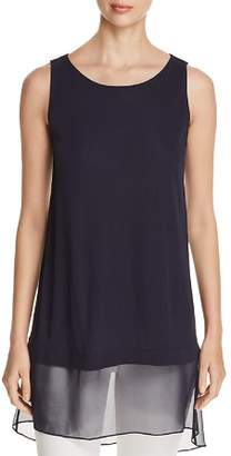Elie Tahari Tenzin Mixed-Media Tunic Top
