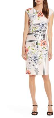 Vince Camuto Patterned Scuba Sheath Dress