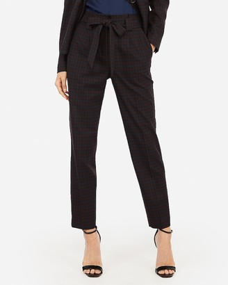 Express High Waisted Plaid Sash Tie Ankle Pant