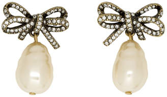 Marc Jacobs Gold Small Faux-Pearl Bow Earrings