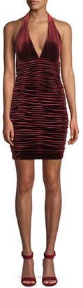 Aidan Mattox V-Neck Shirred Velvet Body-Con Mini Cocktail Halter Dress