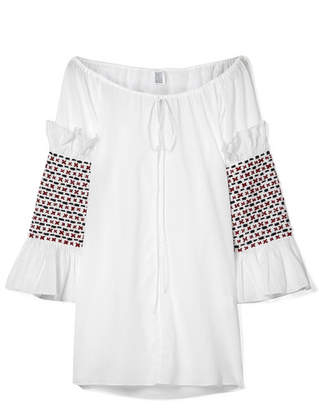 Rosie Assoulin Swarovski Crystal-embellished Embroidered Cotton-voile Top - White