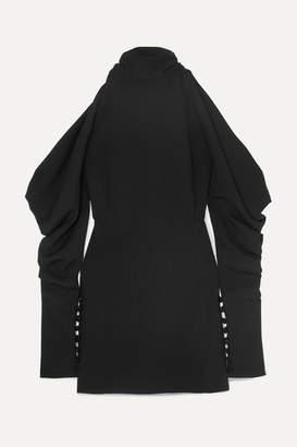 16ARLINGTON - Cold-shoulder Crepe Turtleneck Mini Dress - Black