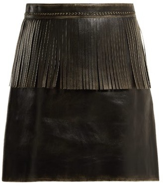 Miu Miu Fringe Trimmed Leather Mini Skirt - Womens - Black