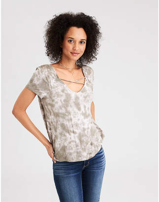 American Eagle AE Soft & Sexy Cross Front V-Neck T-Shirt