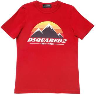 DSQUARED2 Mountain Print Cotton Jersey T-Shirt