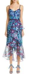 Marchesa High/Low Chiffon Midi Dress