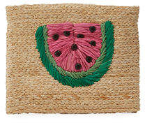 Hat Attack Whimsical Embroidered Raffia Clutch Bag